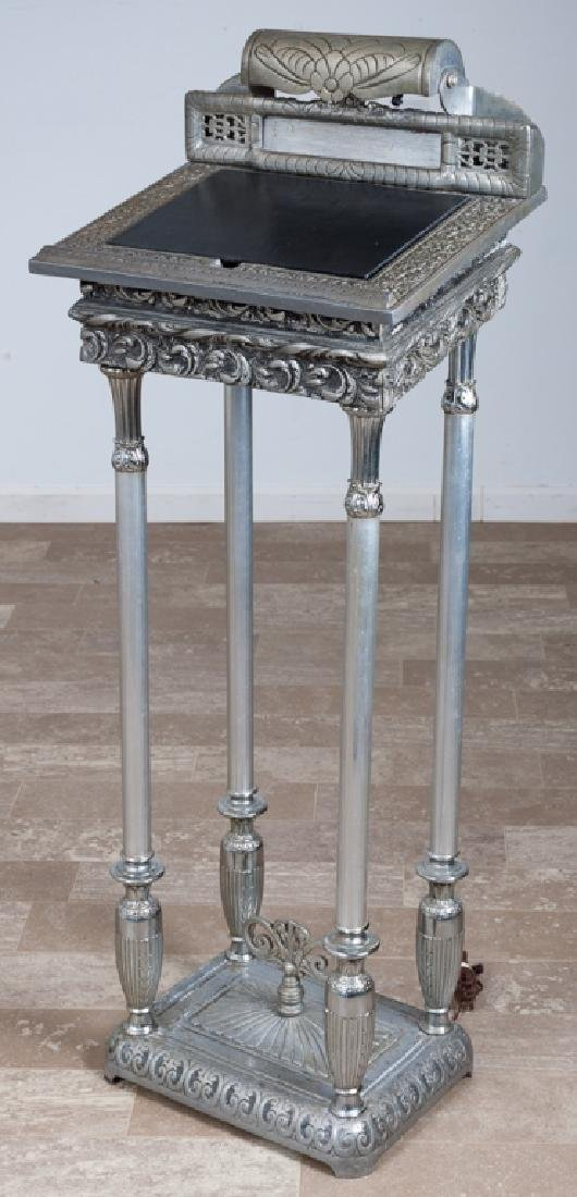 Silvered Cast Metal Book Stand
