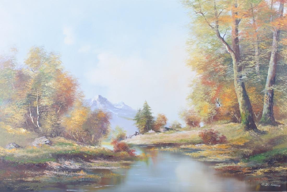 O. Schmidt Landscape Oil On Canvas