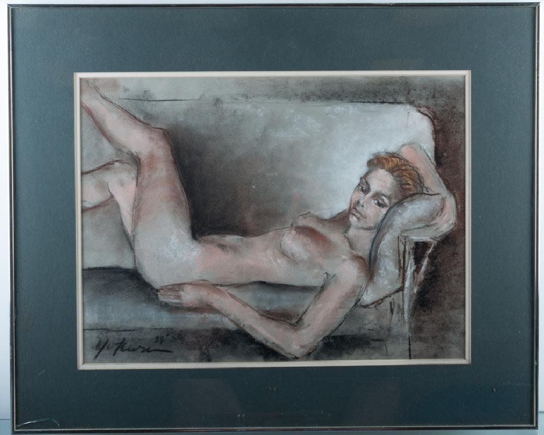 Peter Yokum Nude Portrait Pastel Drawing on Paper