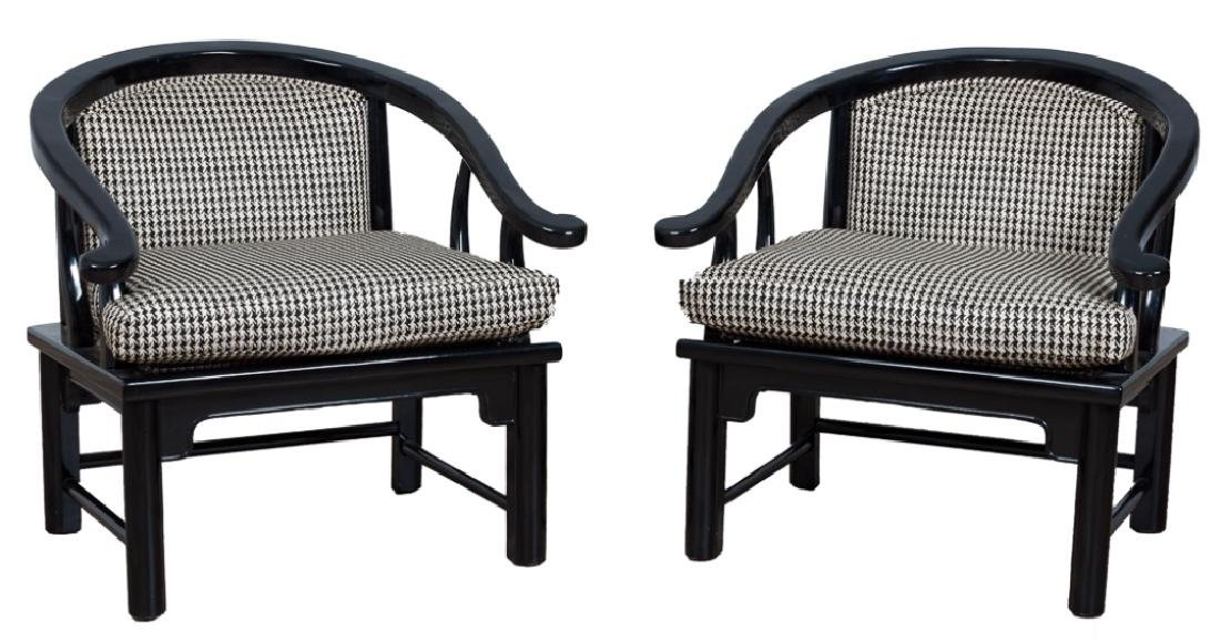 Horseshoe Back Lacquered Chair Pair