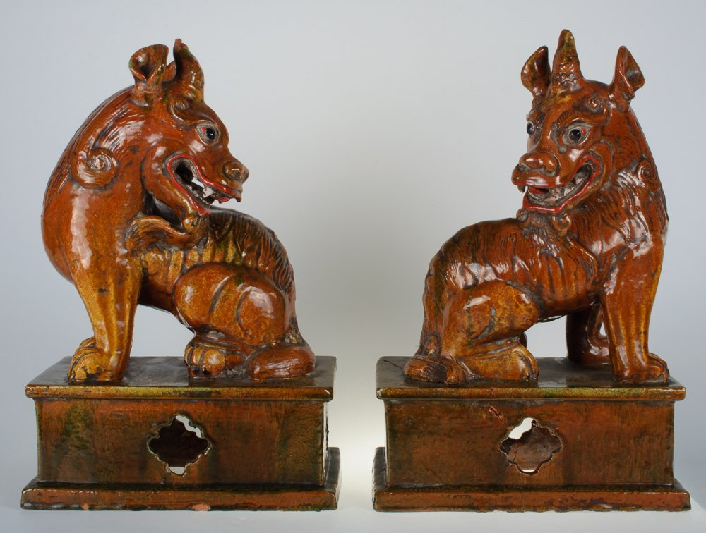 Chinese Terra Cotta Kylin Ex Large  Figures Pair 19th C