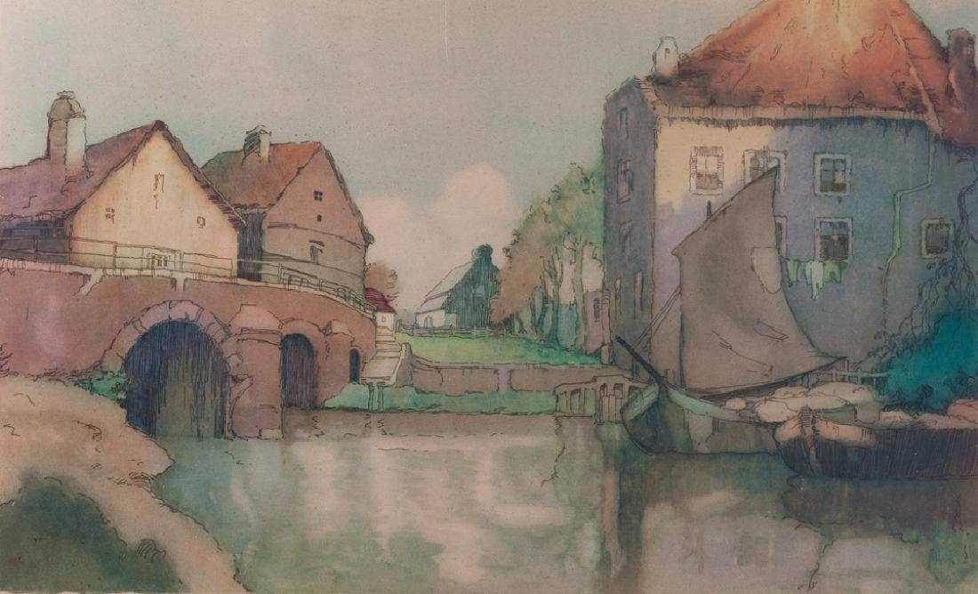 Frederic Van Helm Dutch Village Aquatint - 2