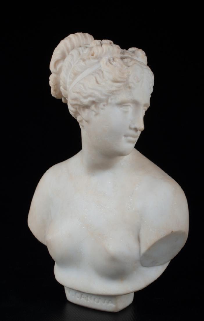 V. Canova Marble Bust of Venus or Diana 19th C