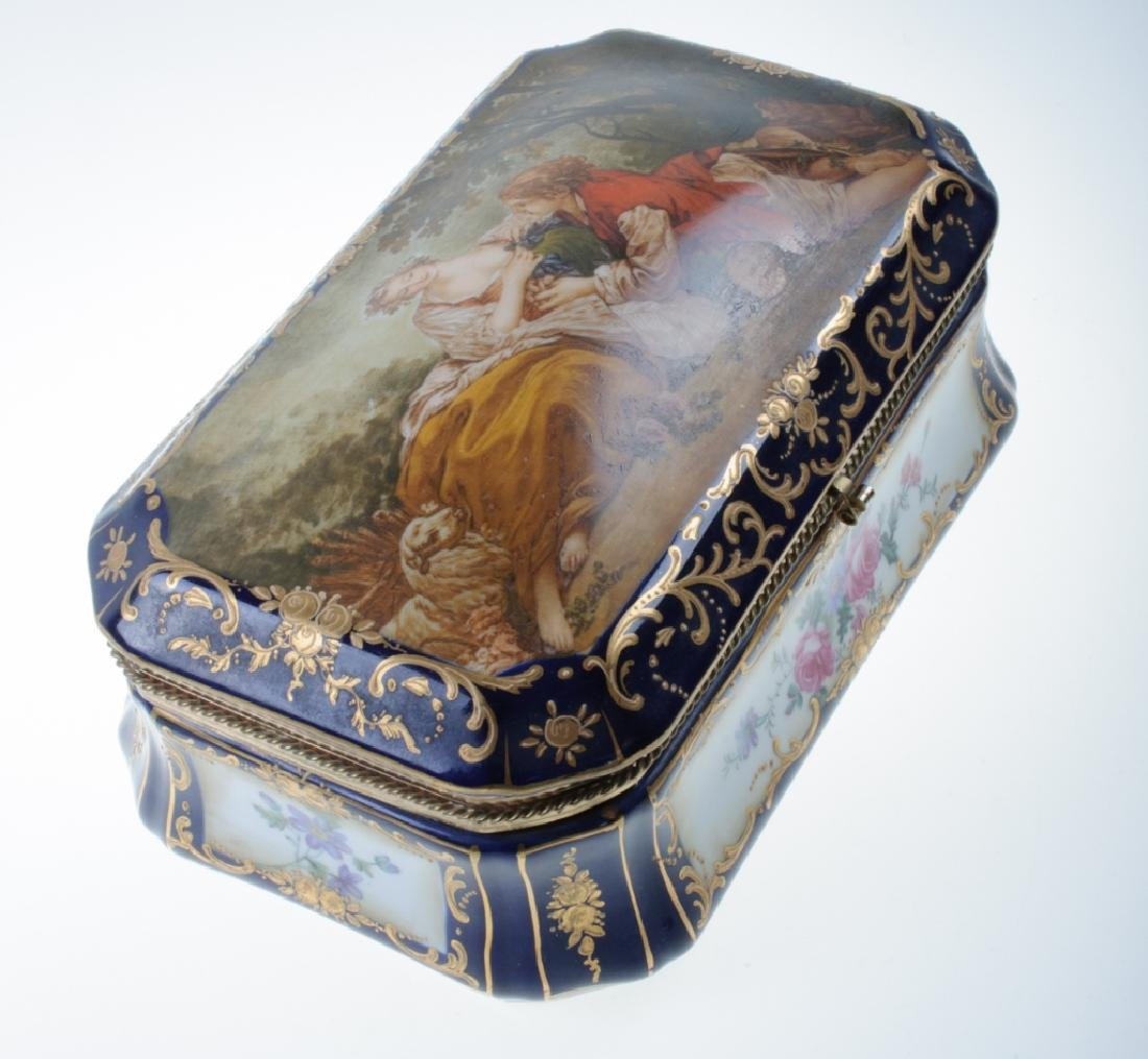 Continental Painted Porcelain Box