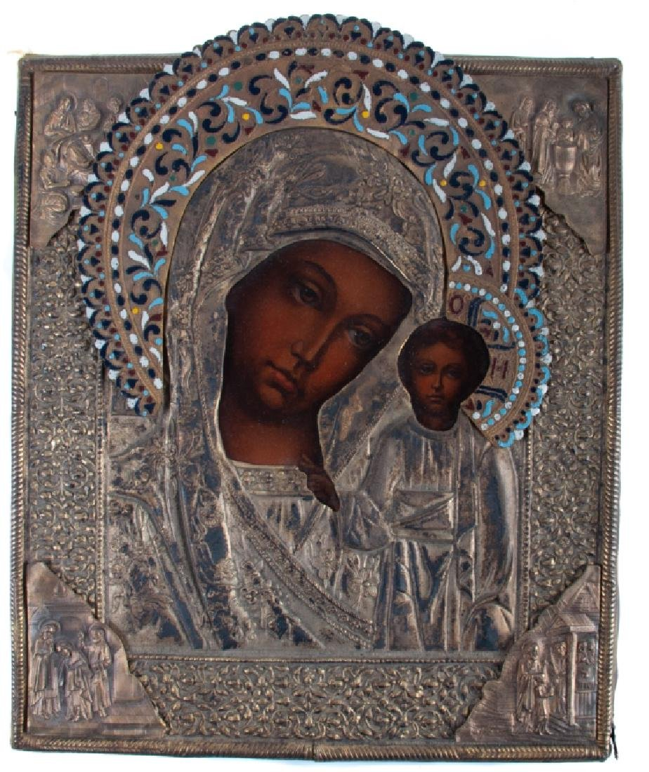 Icon of Madonna and Child 19th C