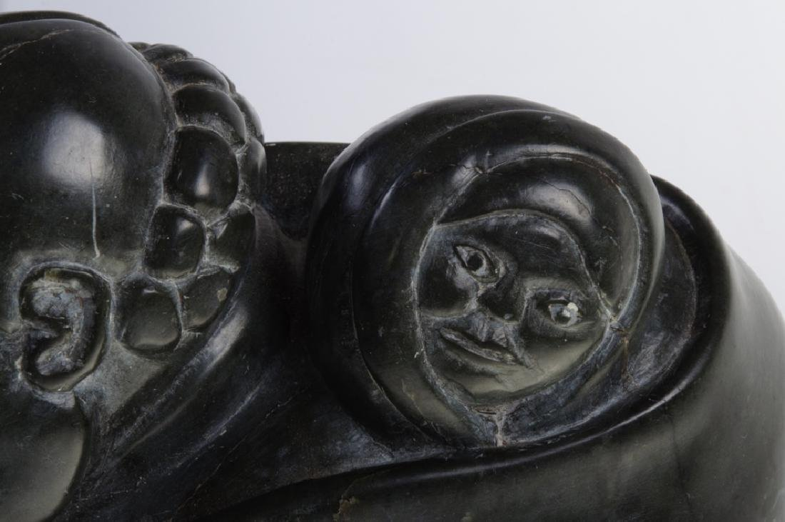 Inuit Stone Carving of a Woman and Child - 12