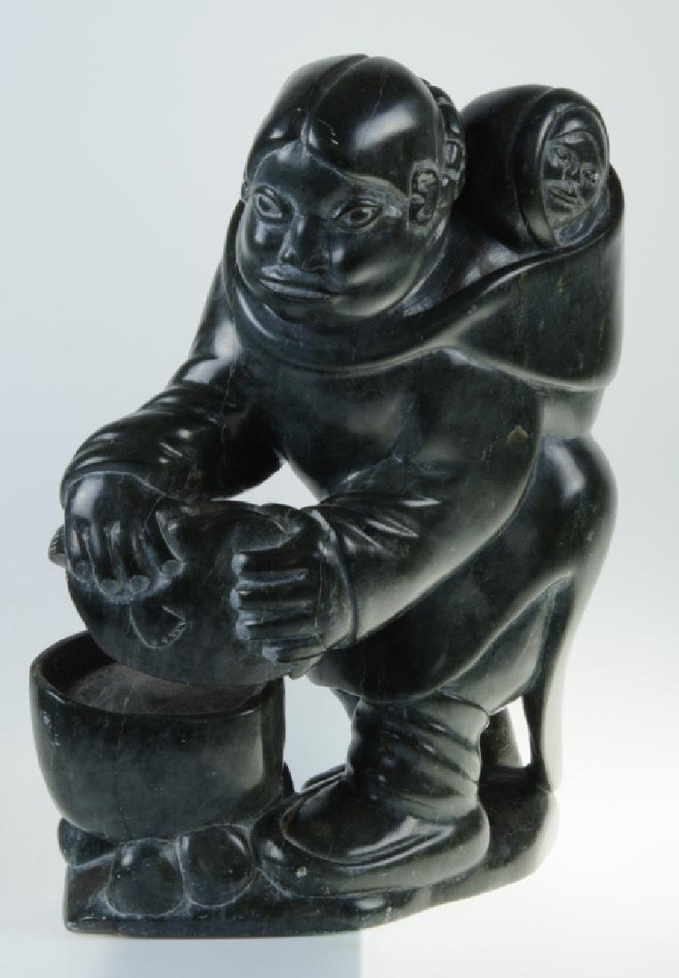 Inuit Stone Carving of a Woman and Child