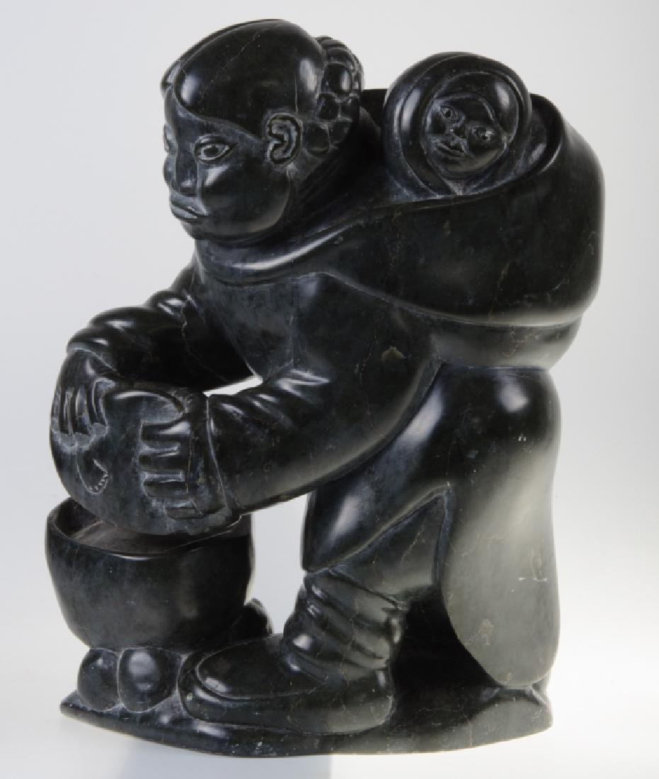 Inuit Stone Carving of a Woman and Child - 5