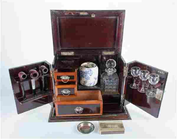 Gentleman's Travel Cellarette, Inlaid Mahogany