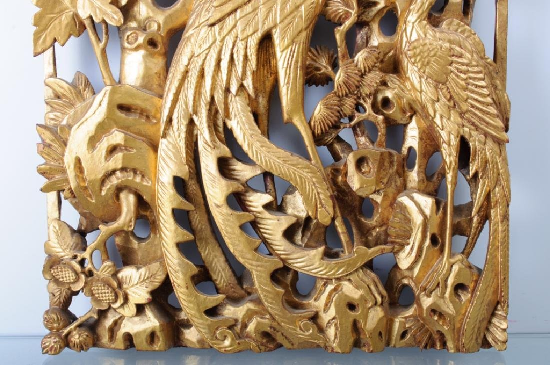 Chinese Carved Wood Panel 19th C - 2