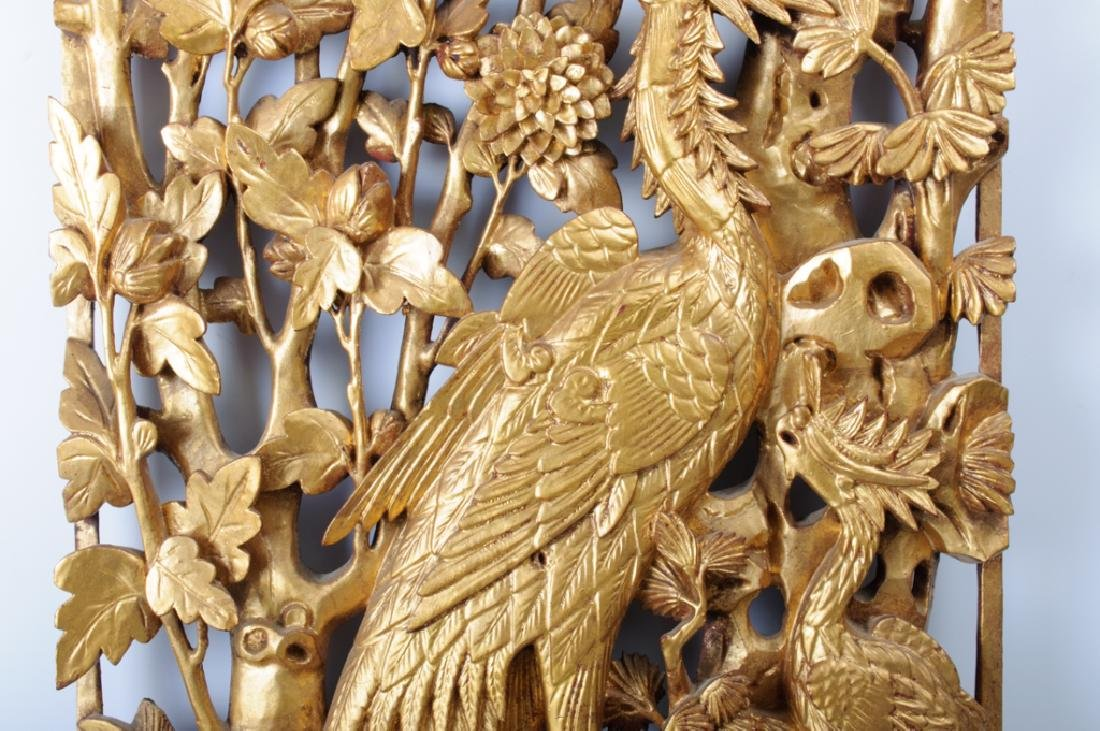 Chinese Carved Wood Panel 19th C - 3