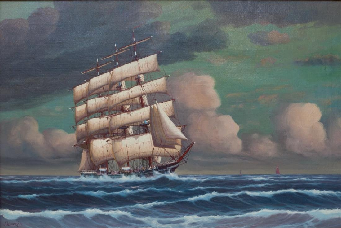 J. Winfried Oil on Canvas Ship Painting - 2