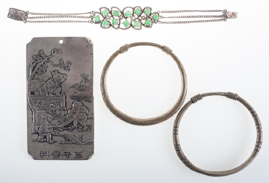 Asian Silver Alloy Money Plaque & Bracelet Trio