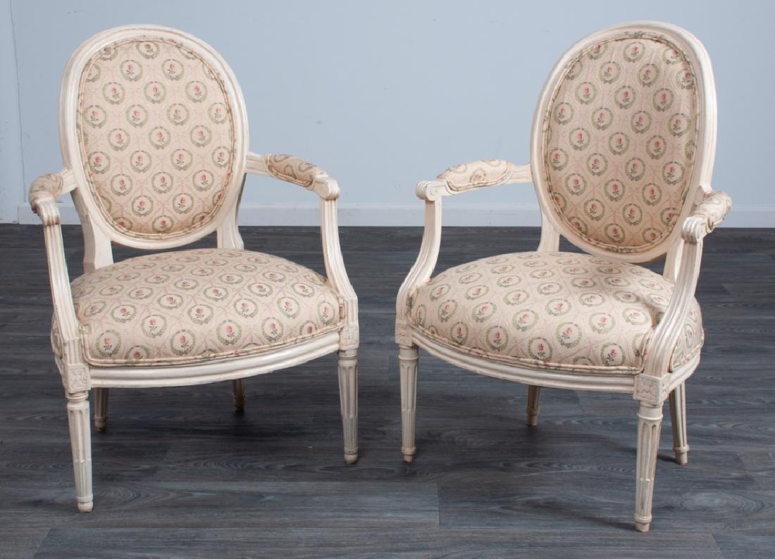 Louis XVI Style Fauteuils Pair