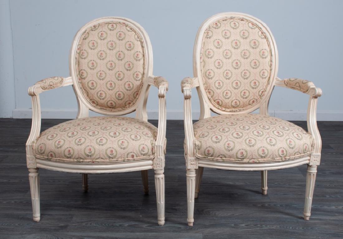 Louis XVI Style Fauteuils Pair - 2