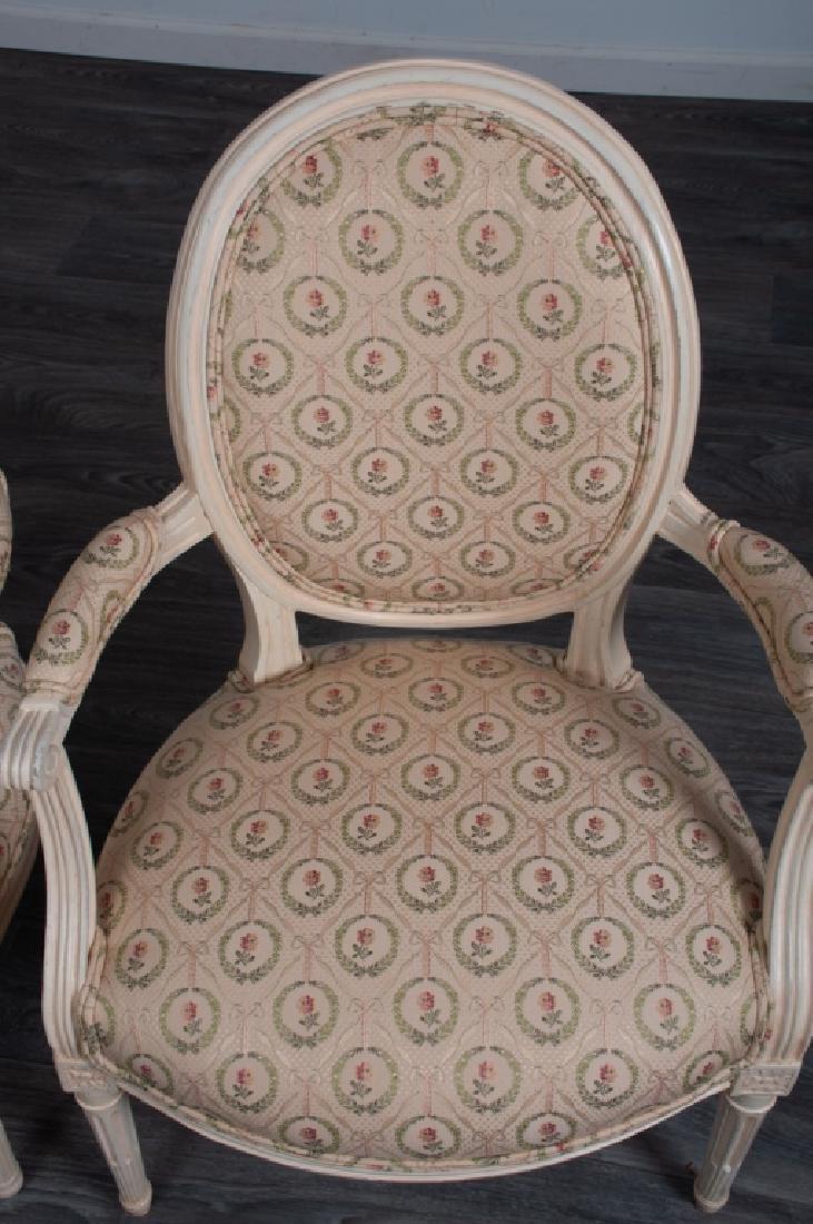Louis XVI Style Fauteuils Pair - 3
