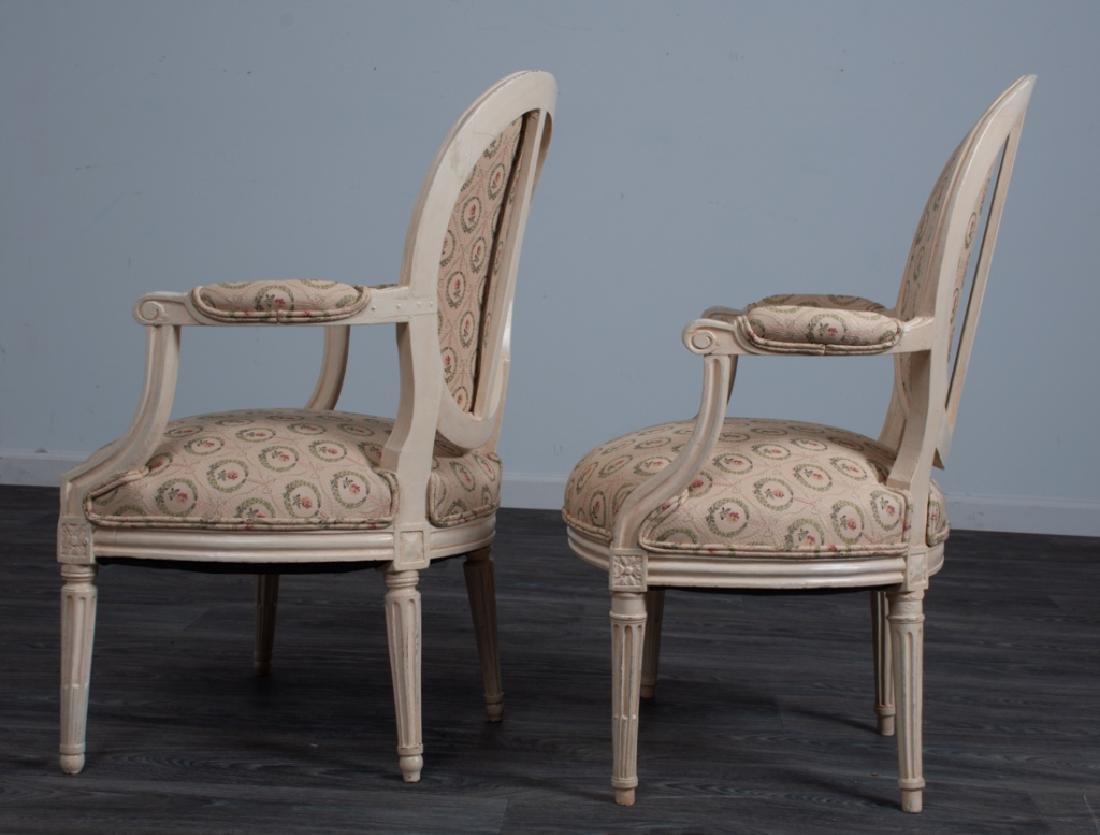 Louis XVI Style Fauteuils Pair - 4
