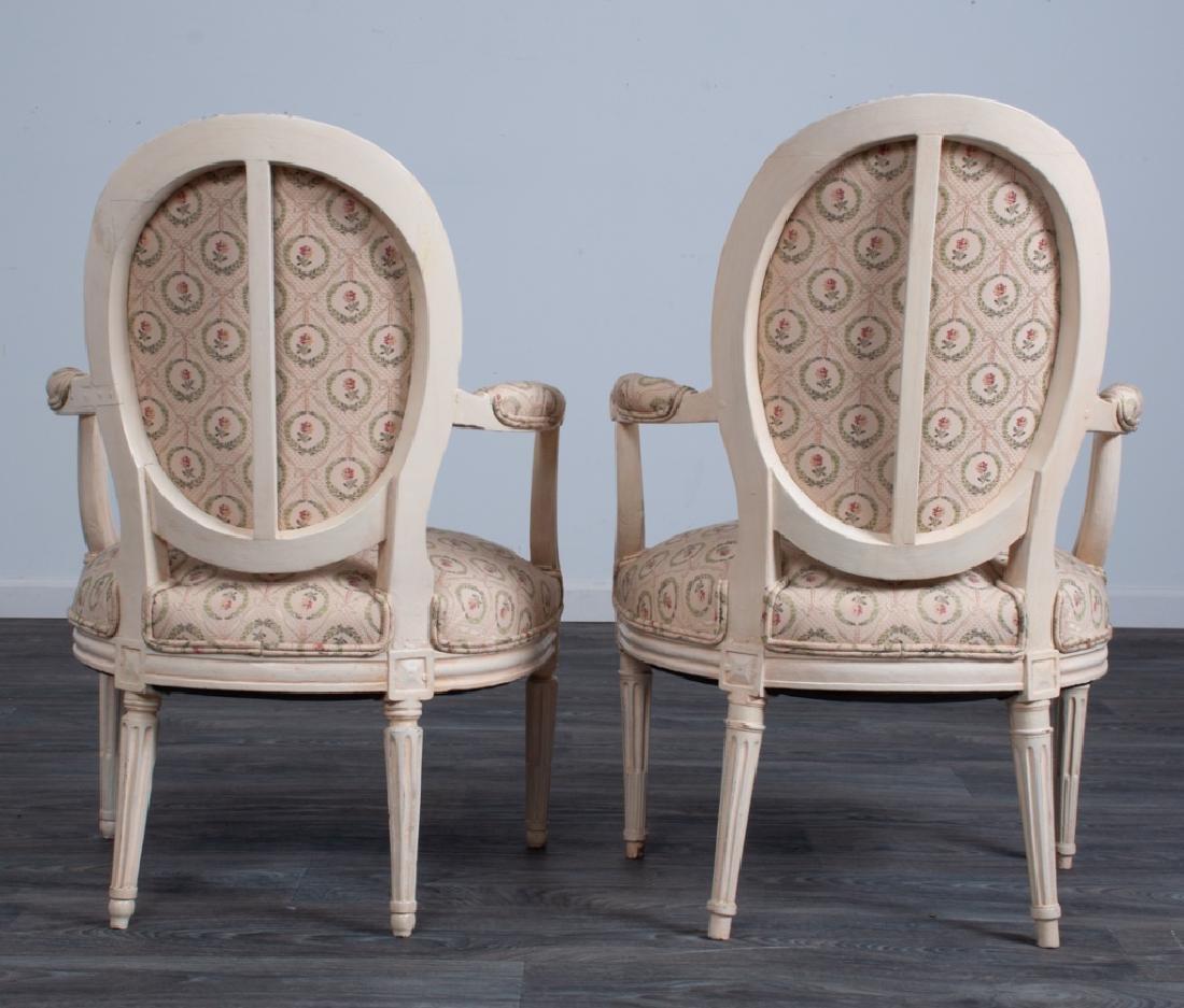 Louis XVI Style Fauteuils Pair - 5