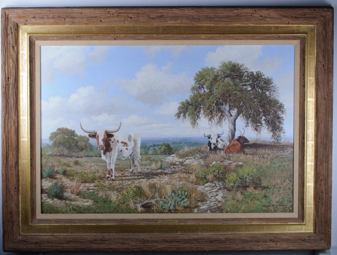 Robert Harrison Landscape with Longhorns Oil