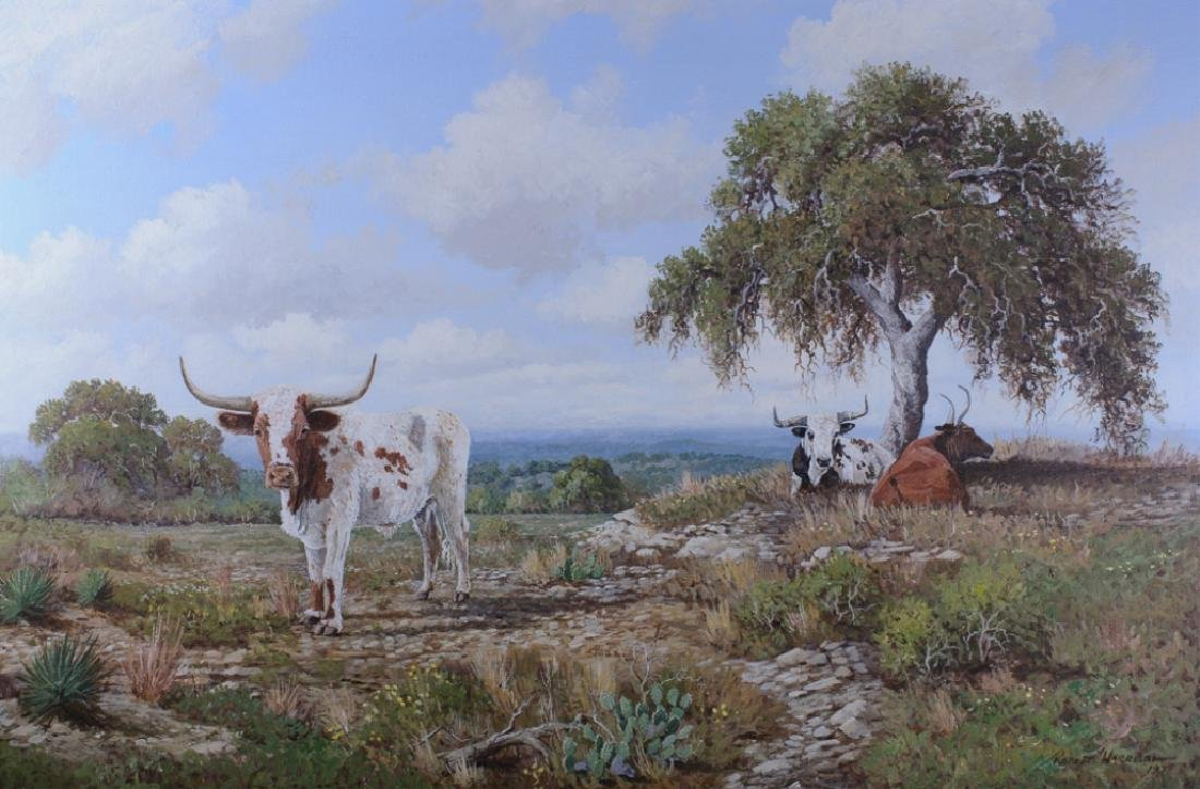 Robert Harrison Landscape with Longhorns Oil - 2