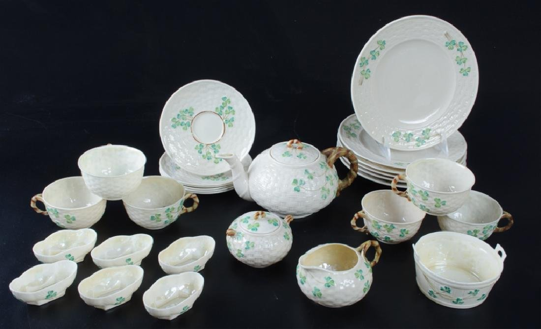 Belleek Third Period Black Mark Tea & Luncheon Set