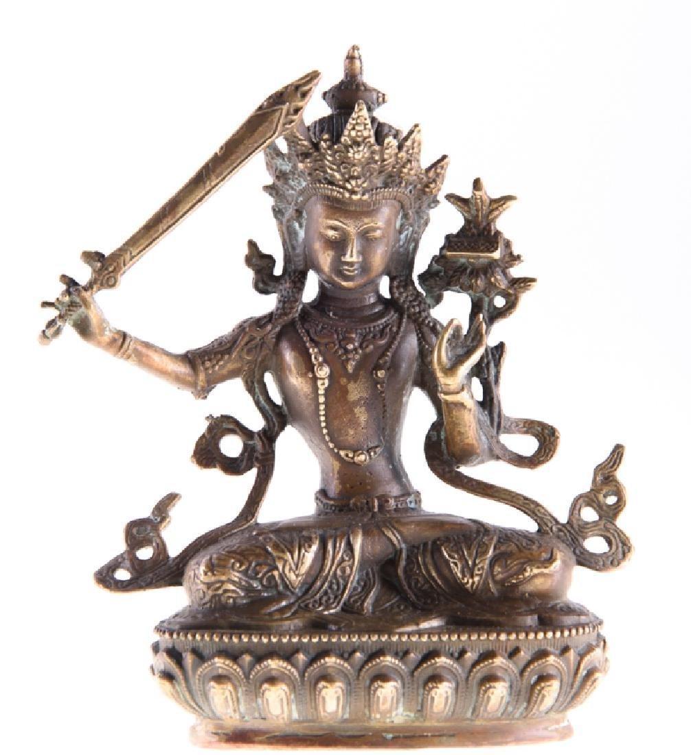 Himalayan Cast Bronze Serpent Goddess - 2