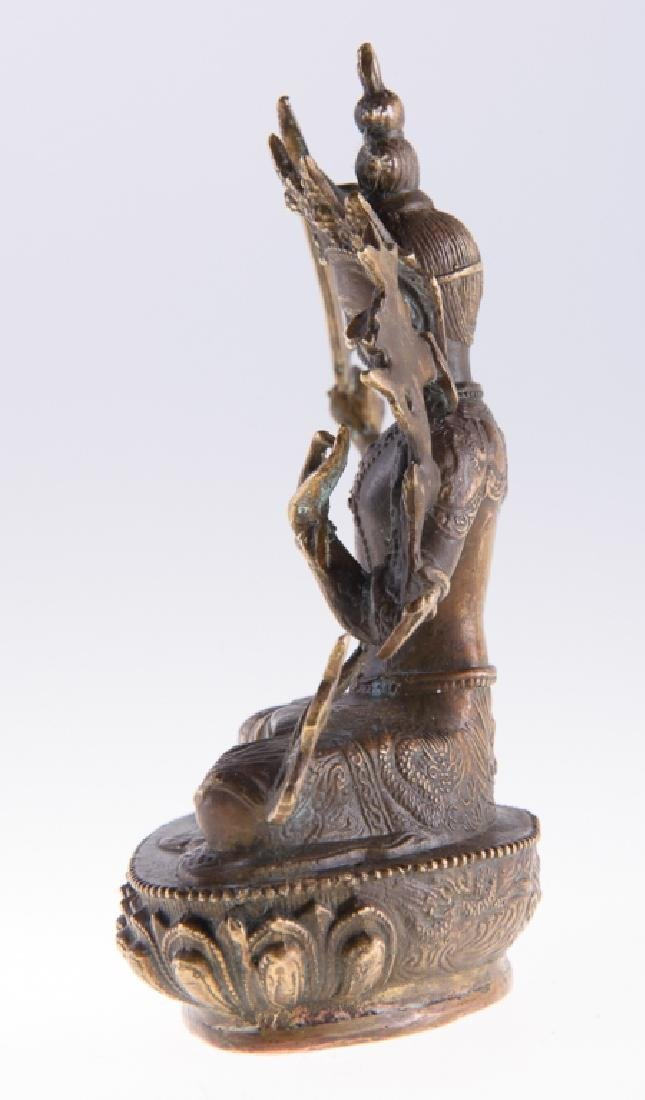 Himalayan Cast Bronze Serpent Goddess - 3