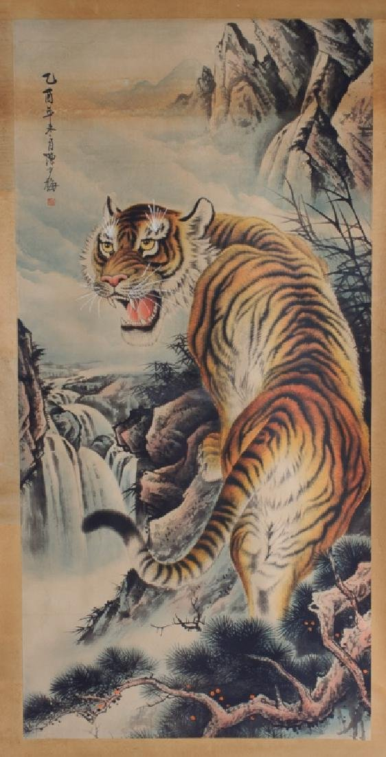 Chinese Scroll Painting of  Tiger, L 19th/E 20th C - 2
