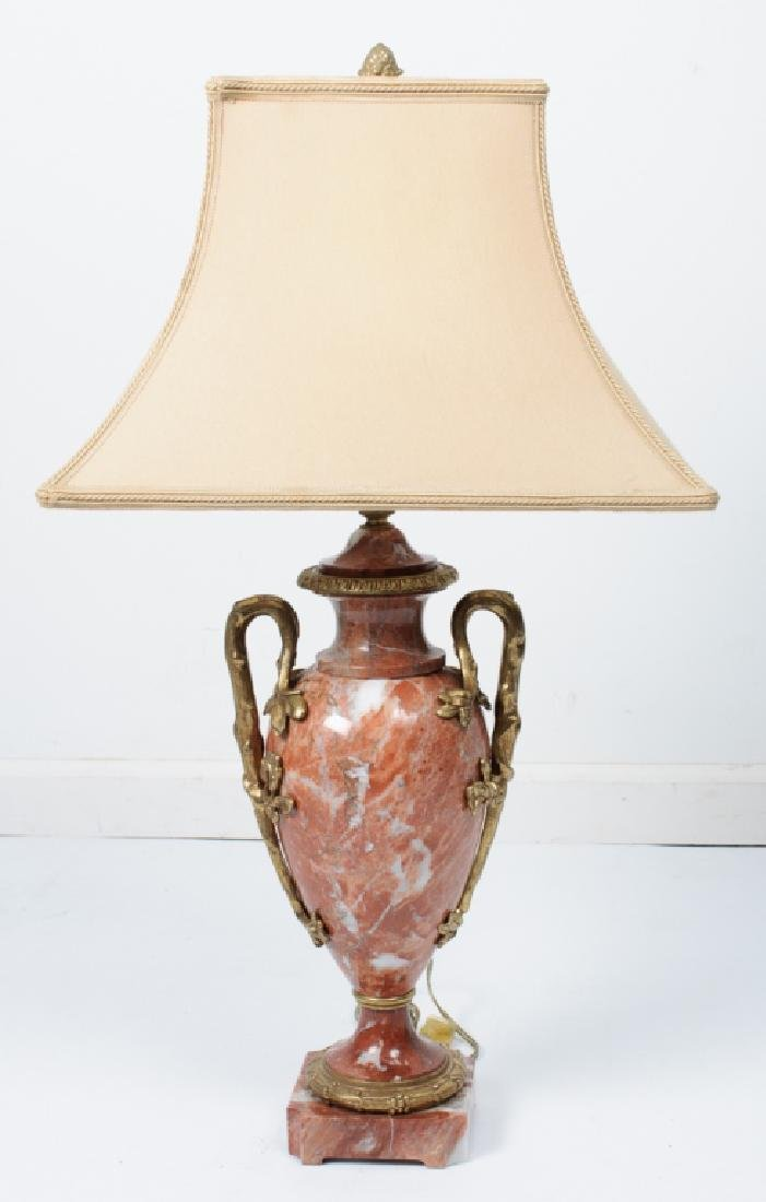 Porphyry or Red Marble Table Lamp