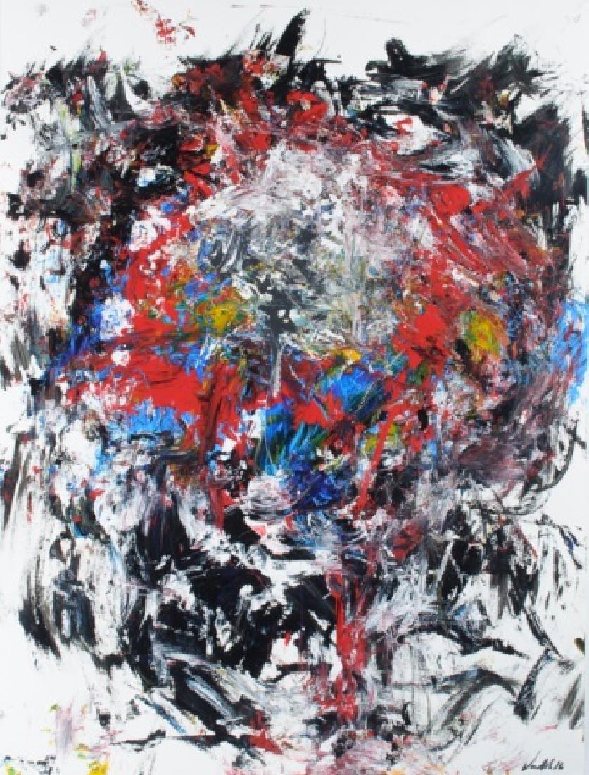 """Von Allen """"Leo"""" Abstract Oil On Paper"""