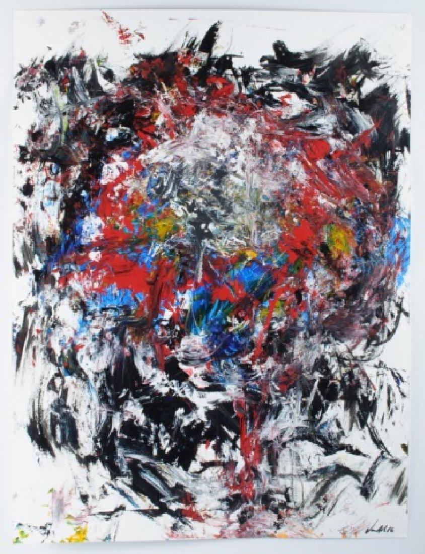 """Von Allen """"Leo"""" Abstract Oil On Paper - 2"""