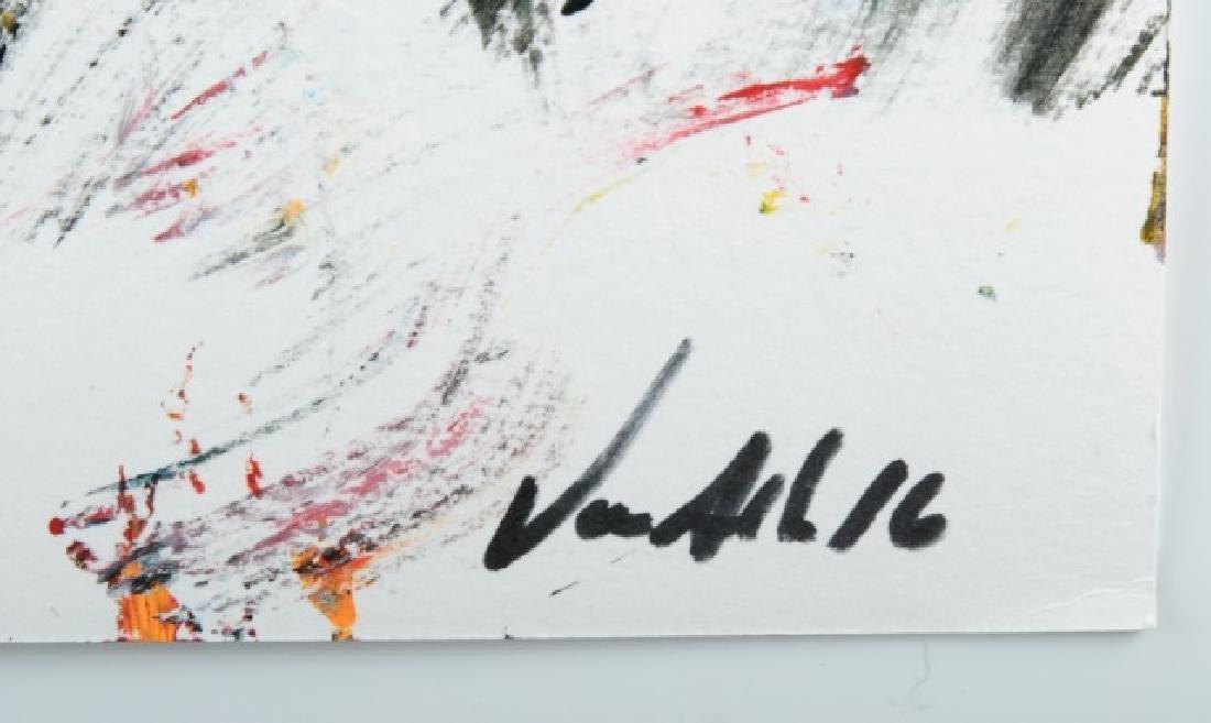 """Von Allen """"Leo"""" Abstract Oil On Paper - 3"""