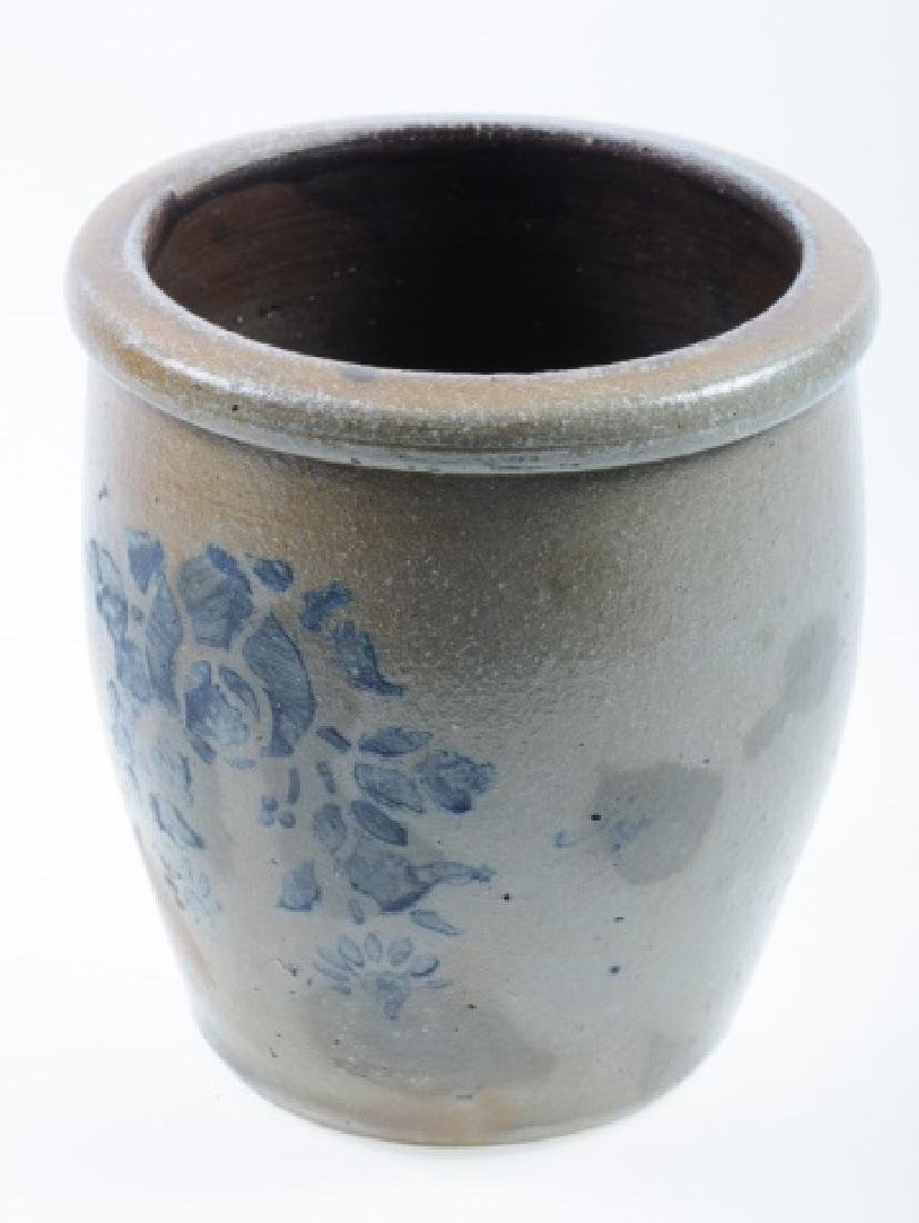 Stoneware Crock with Blue Floral Design