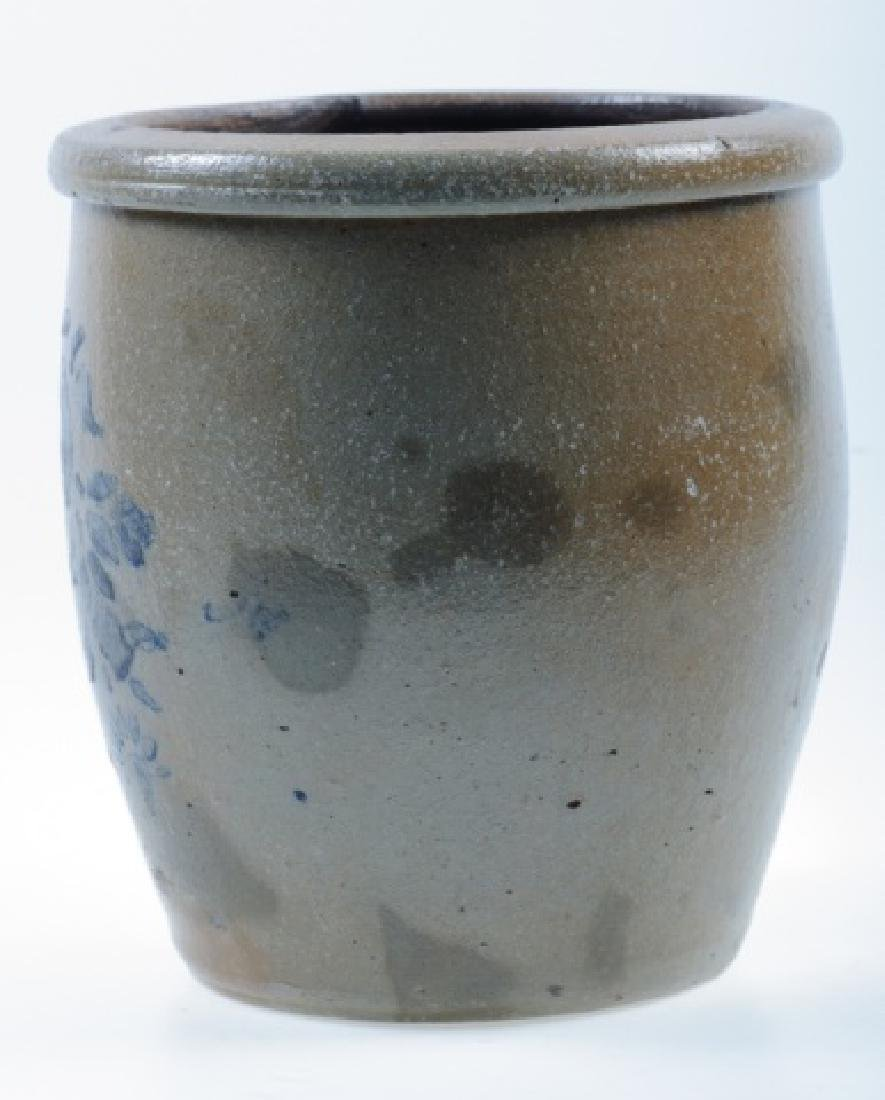 Stoneware Crock with Blue Floral Design - 3