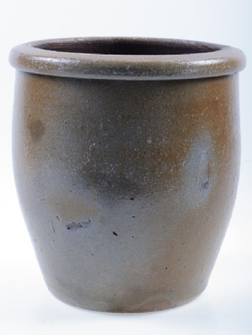 Stoneware Crock with Blue Floral Design - 4