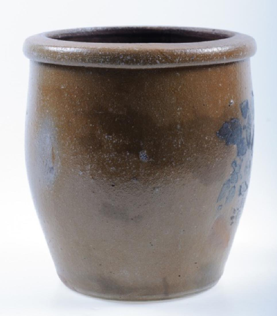 Stoneware Crock with Blue Floral Design - 5