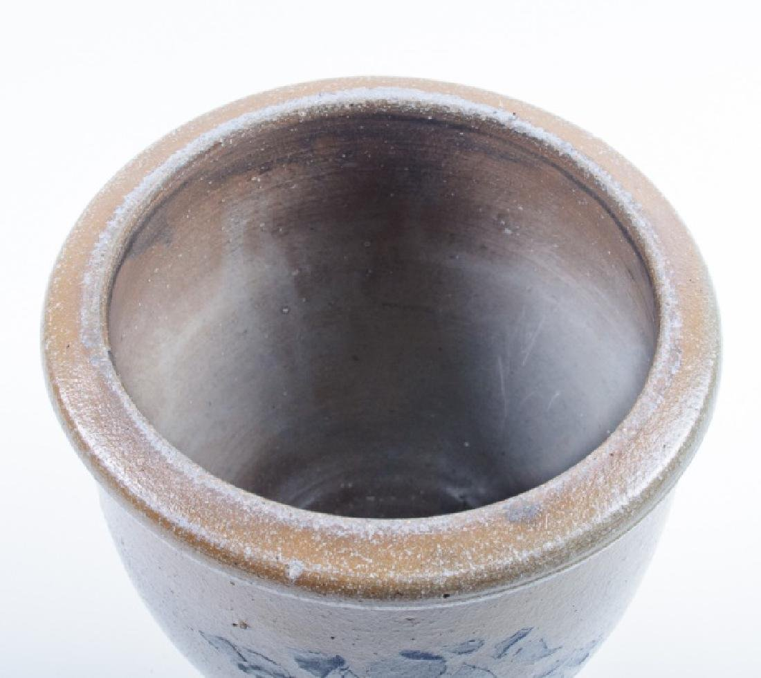 Stoneware Crock with Blue Floral Design - 7