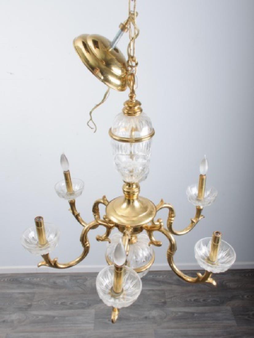 Brass & Glass Chandelier - 2