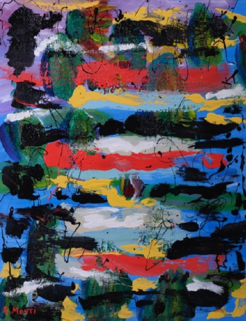R. Monti Abstract Oil on Canvas - 2