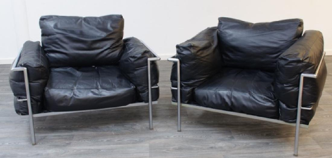 Le Corbusier LC3 Style Armchairs Pair