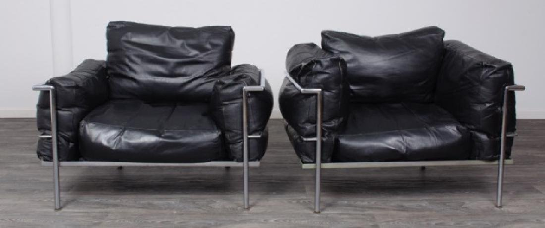 Le Corbusier LC3 Style Armchairs Pair - 2
