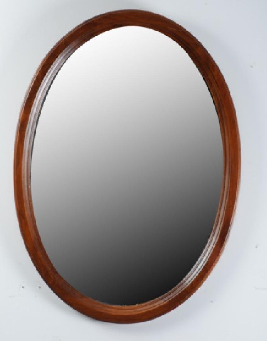 Ethan Allen Oval Wall Mirror, Wood Frame