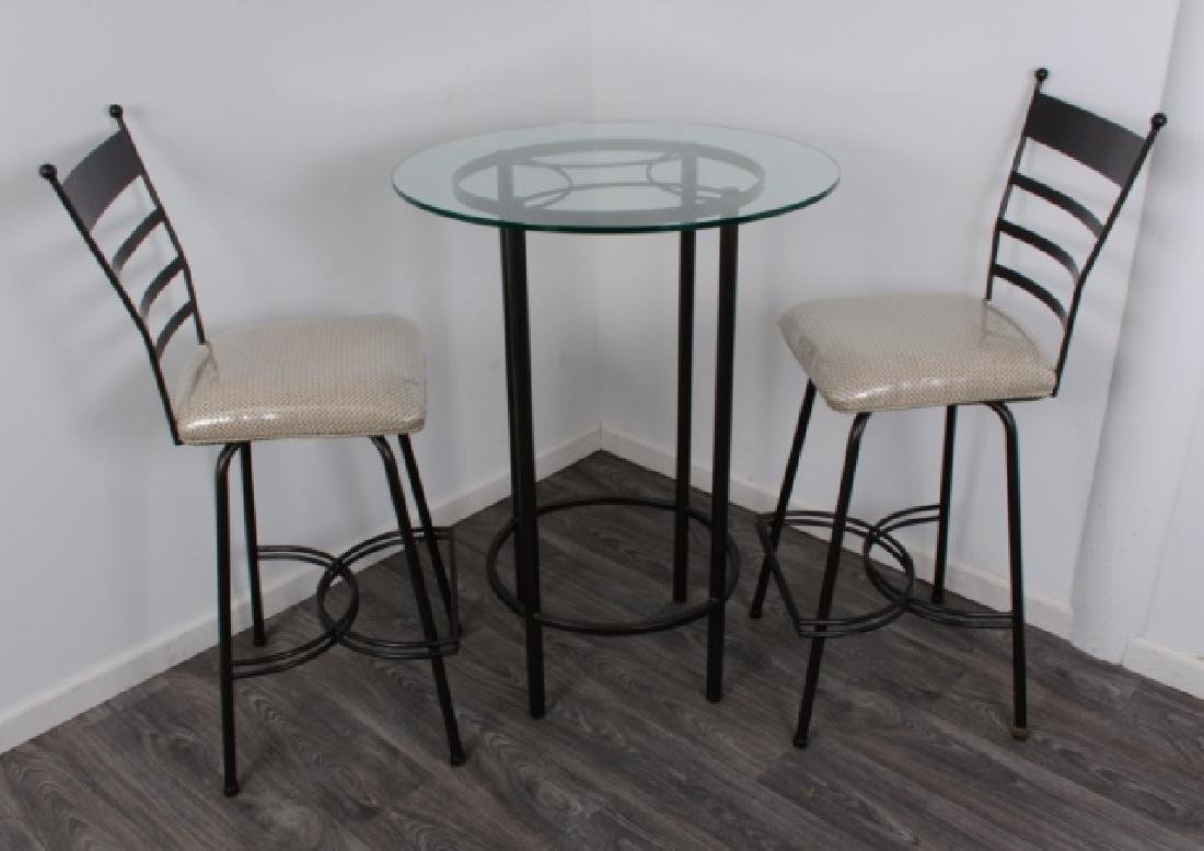 Bistro Table & Chairs Pair Set, Glass Top