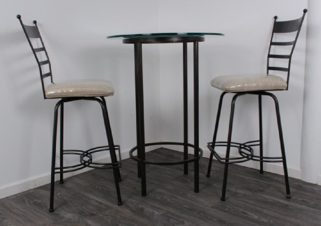 Bistro Table & Chairs Pair Set, Glass Top - 2