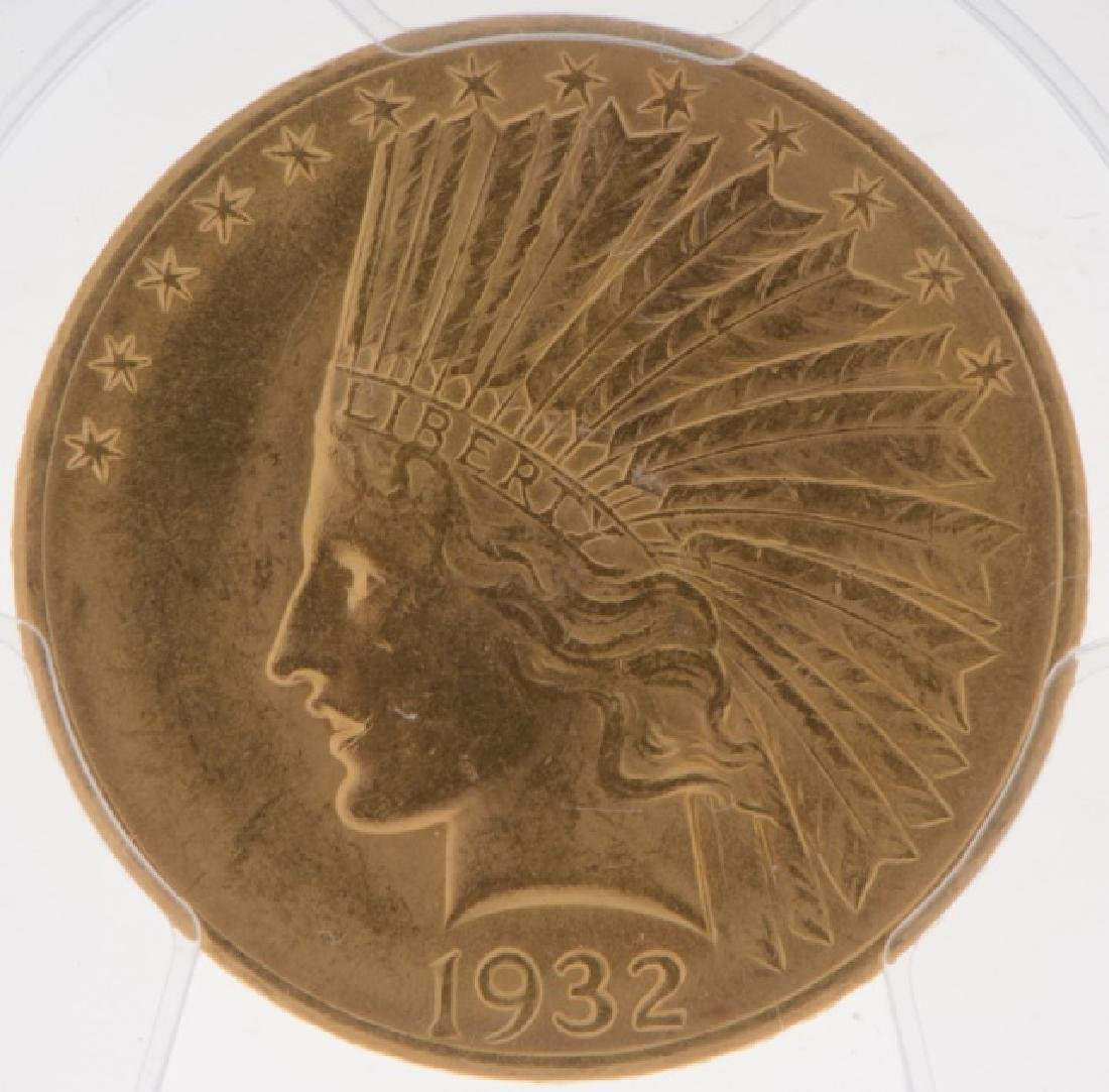 1932 Indian Head $10 Gold Eagle Coin PCGS MS-62