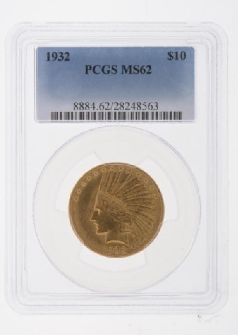 1932 Indian Head $10 Gold Eagle Coin PCGS MS-62 - 3