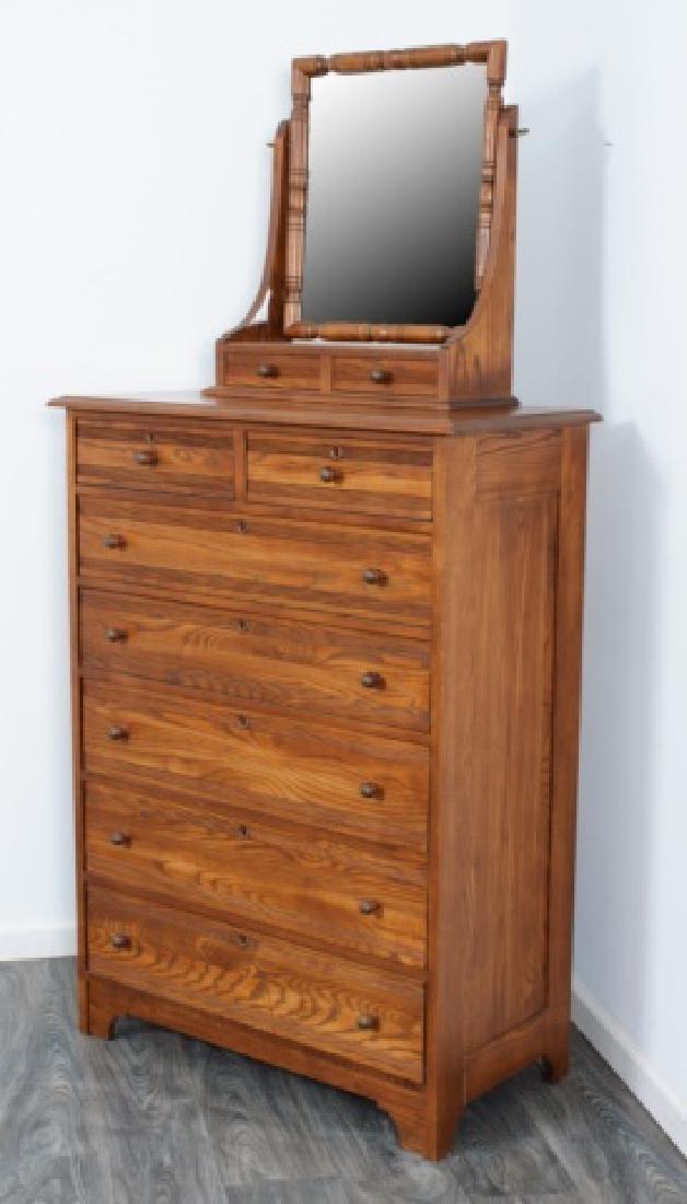 Durham Furniture Oak Seven Drawer Chest & Mirror