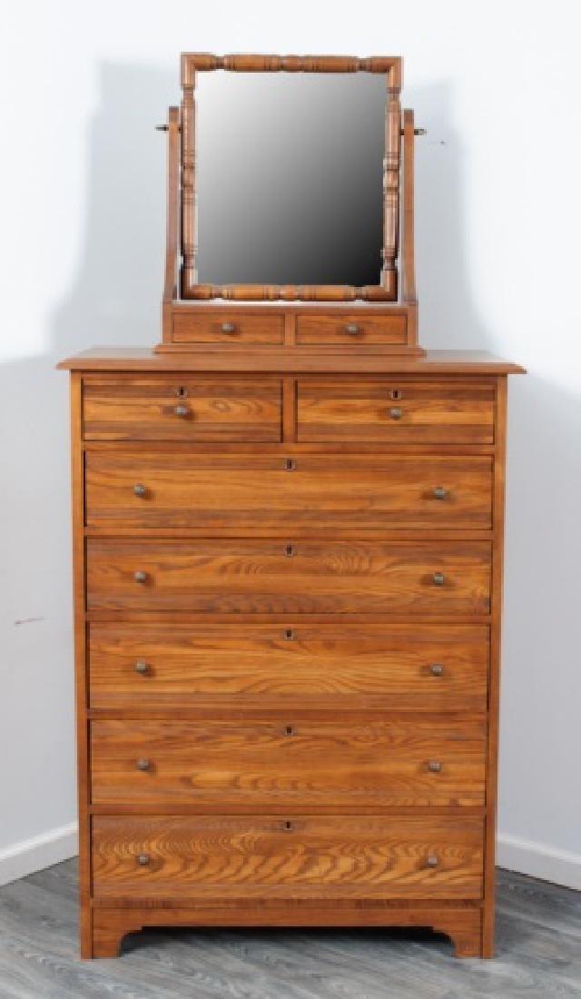 Durham Furniture Oak Seven Drawer Chest & Mirror - 2