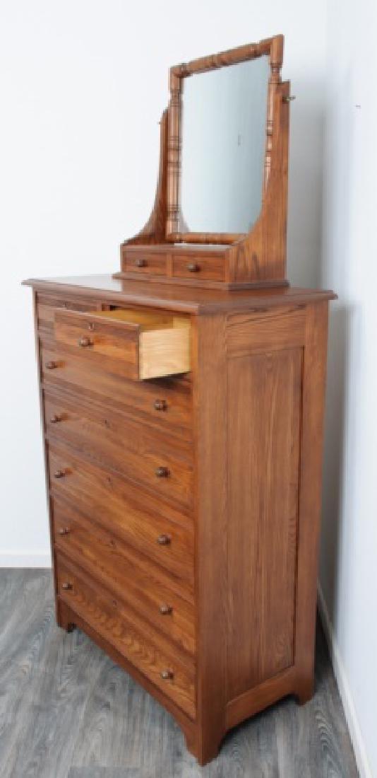 Durham Furniture Oak Seven Drawer Chest & Mirror - 5