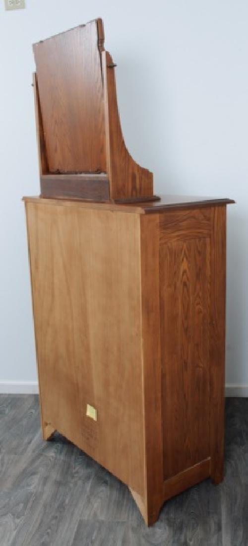 Durham Furniture Oak Seven Drawer Chest & Mirror - 9